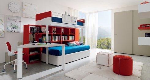 cameretta rossa e bianca, camerette su misura, camerette per bambini