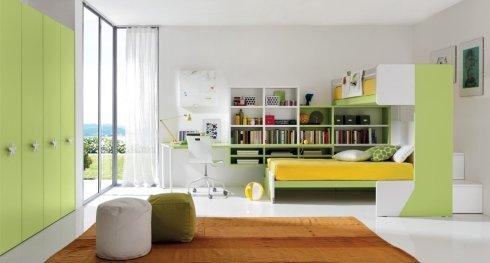 cameretta con mobili verde acido, cameretta con letto a soppalco, cameretta per due bambini