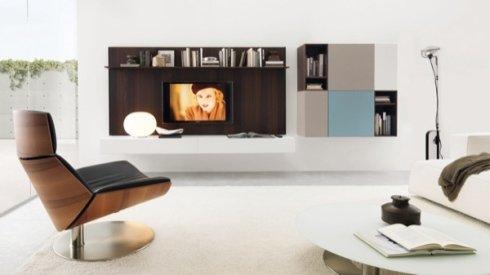poltrona in legno e pelle, mobili tv, pensili per soggiorno