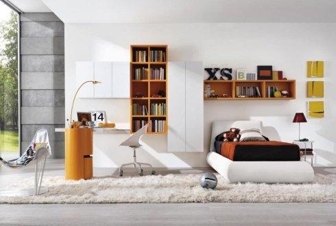 letto singolo in ecopelle, mesole arancioni, cameretta per bambini