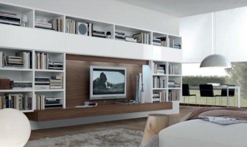 libreria a ponte, soggiorno bianco e legno, arredamento salotto