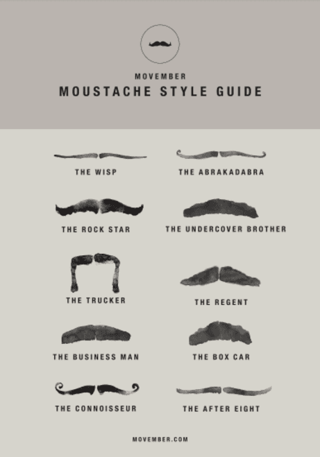 MOVEMBER MOUSTACHE STYLE GUIDE FROM FAMILY DENTAL CENTRES