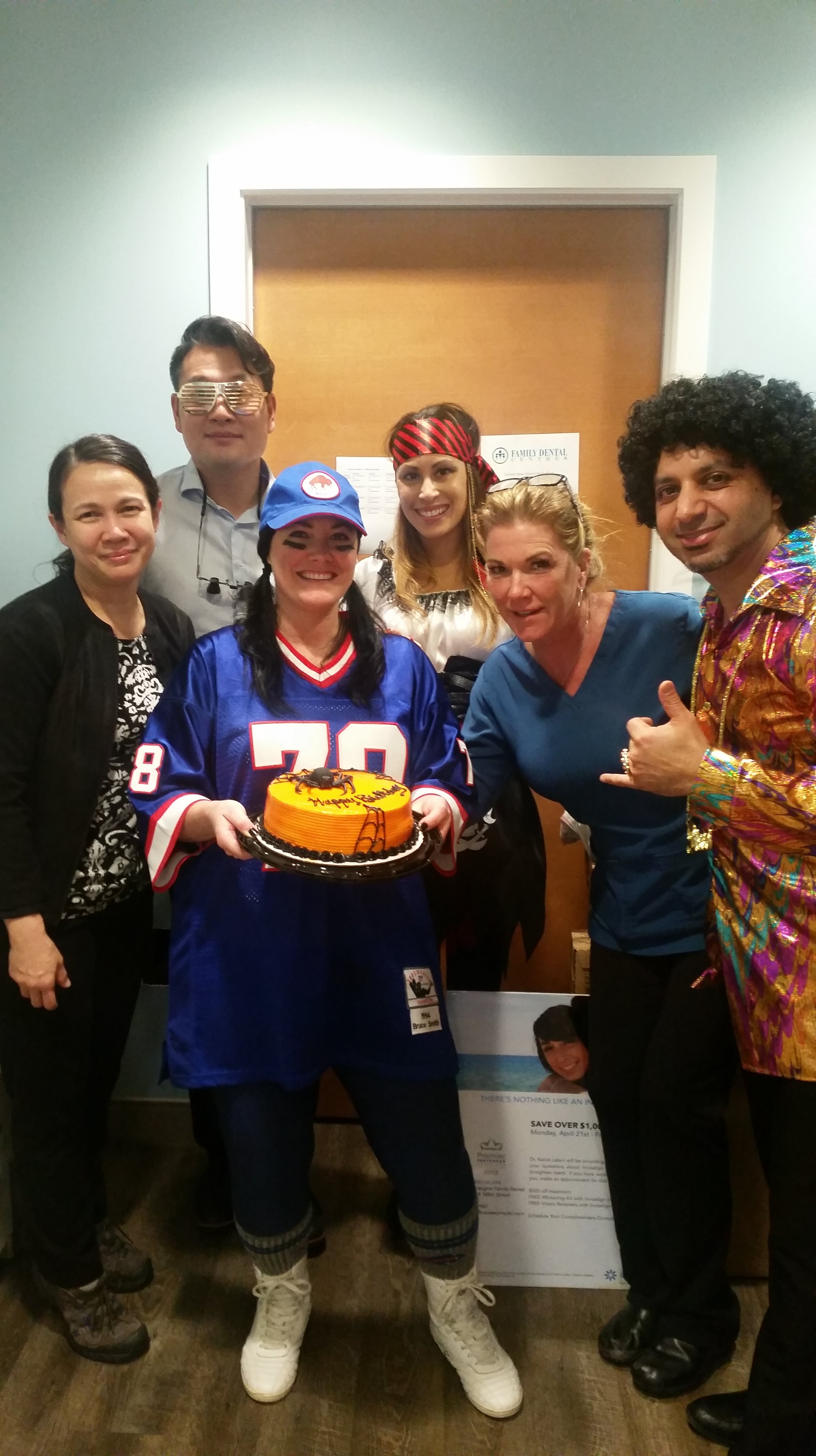 The team at Clayton Heights Family Dental in Surrey all dressed up for Halloween