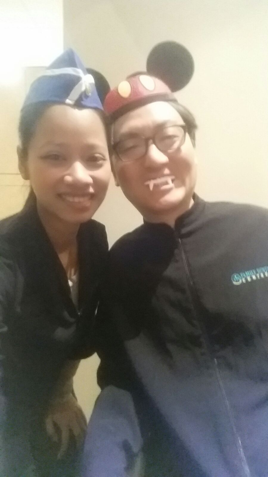 Dr Shin and Panja all dressed up for Halloween at Madison Centre Family Dental in Burnaby