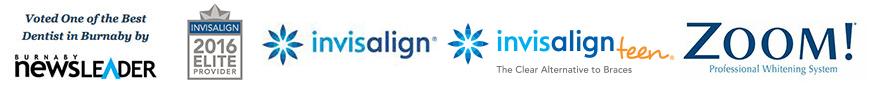Burnaby Newsletter, Invisalign, Invisalign teen, and Zoom logos