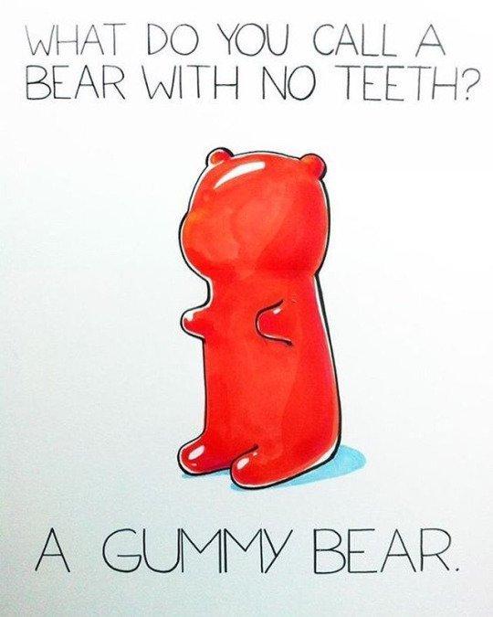 WHAT DO YOU CALL A BEAR WITH NO TEETH? A GUMMY BEAR. SUNDAY FUNNIES. DENTAL HUMOUR
