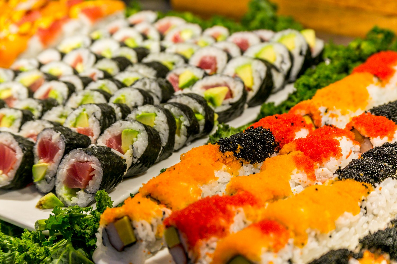 Hokkaido Chinese & Japanese buffet sushi close up
