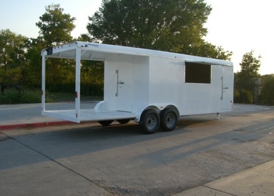24FT BBQ enclosed trailer 16ft enclosed 8ft open with diamond plate floor