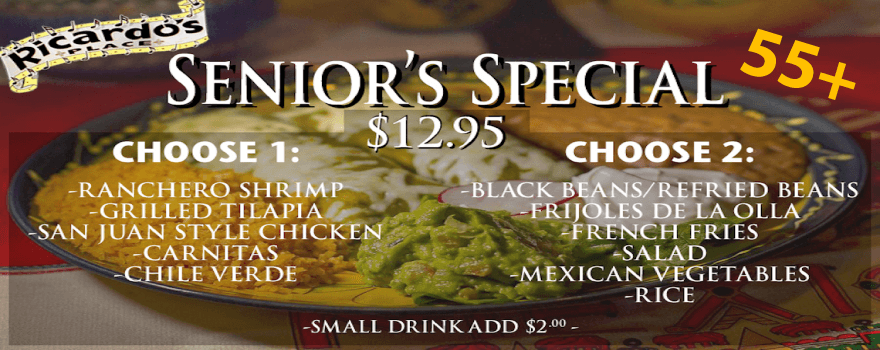 delivery near me, Senior's Special at Ricardo's Place SJC 9275