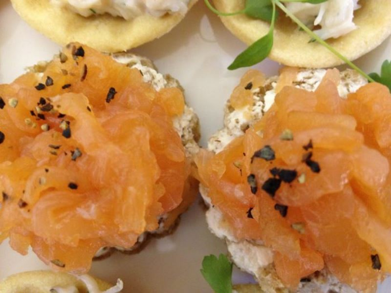 Local smoked salmon canape