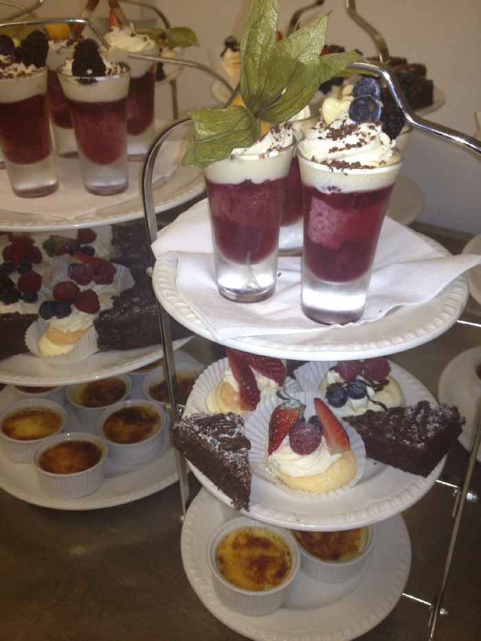 Cake stand of desserts