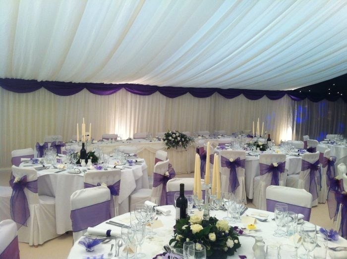 Chair covers and cream carpet