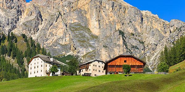 Tre case in montagna, vista di una montagna, dei pini e prato verde