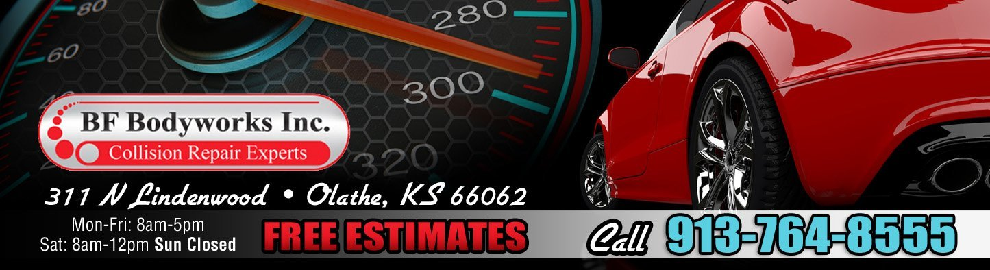 Red car, Auto Body Repair, Free Estimates, Call 913-764-8555, 311 N Lindenwood Olathe KS, BF Bodyworks, BF Bodyworks Collision Repair Experts