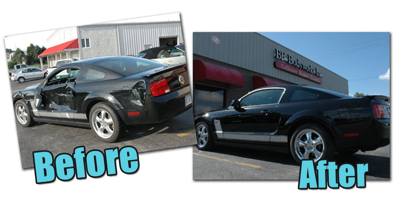 Mustang Before Picture, Ford Mustang damaged, Ford Mustang Repaired, Mustang After Picture