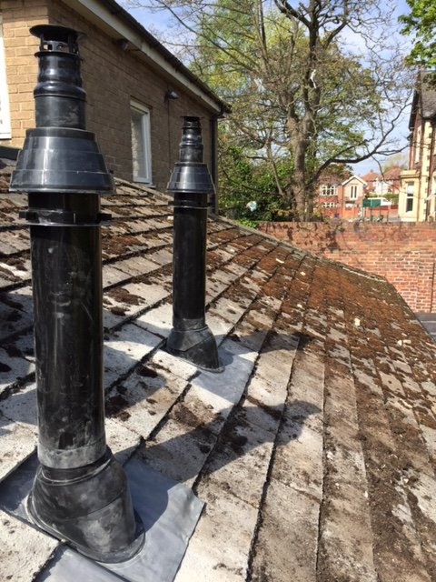 A completed commercial flue installation