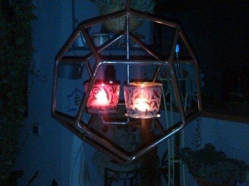 Porta candele in ferro stile esagono da porre sul tavolo
