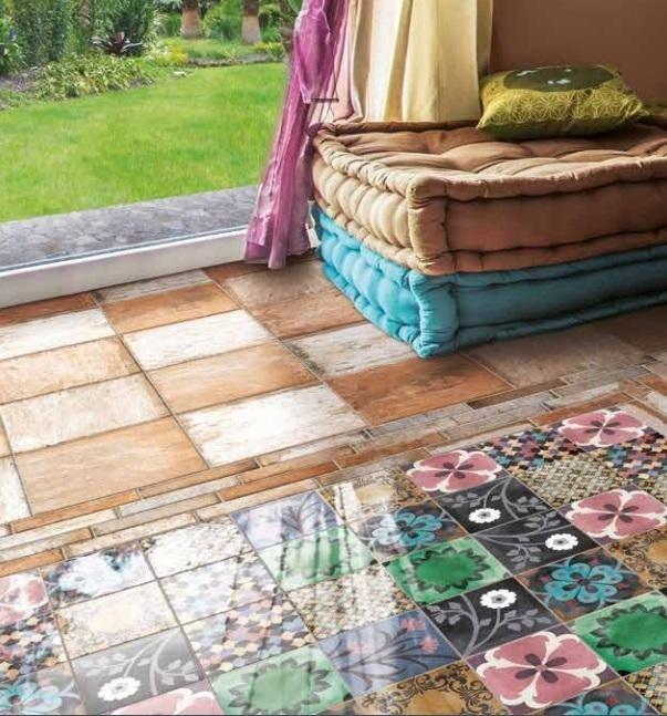 Pavimento effetto cotto con tappeto decorato multicolor Asti