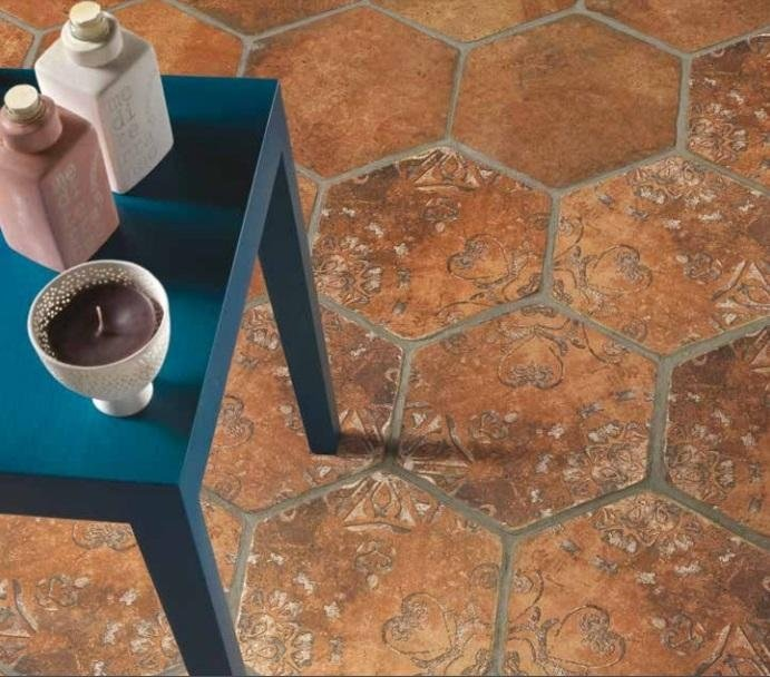 Cotto ceramico esagonale decorato Asti