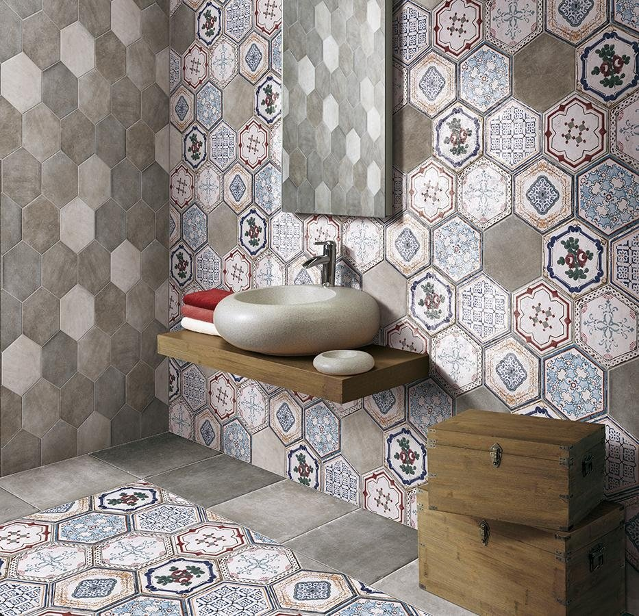 Esagonali decorate per pavimenti e rivestimenti Asti