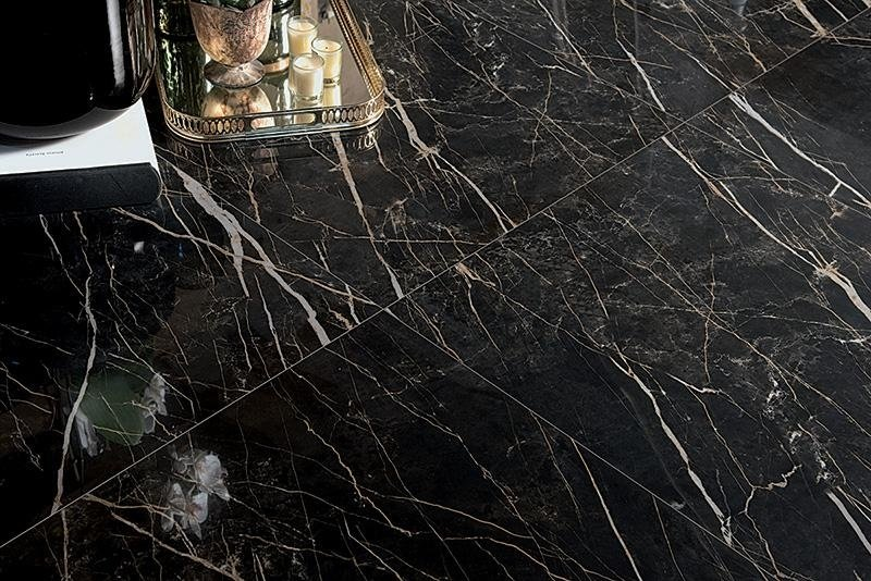 Gres effetto marmo lucido nero Asti