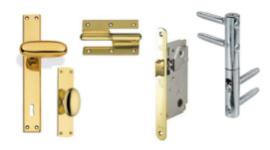 maniglie in ottone, serrature per porte interne, cerniere per porte e ante
