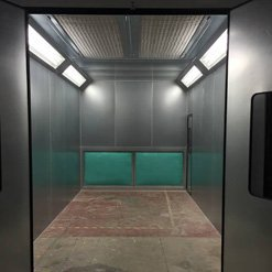 A fully fitted spray booth