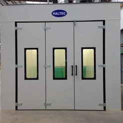 A fully fitted spray booth from Haltec with closed doors