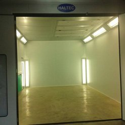 A spray booth ready for use, fitted by Haltec