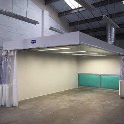 Inside an alloy whhel repair bay