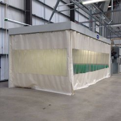 Canvas spray booth protection