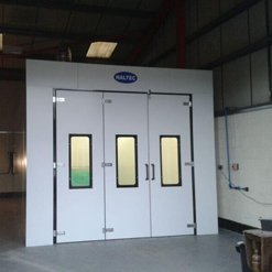 The exterior of a newly fitted rear extraction spray booth