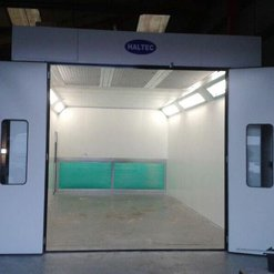 A HAltec spray booth with rear extraction