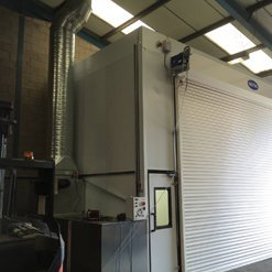Exterior of a door to a spray booth