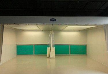 An empty spray booth with flexi curtains
