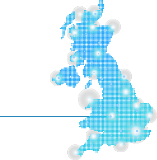 A map of the UK with lights