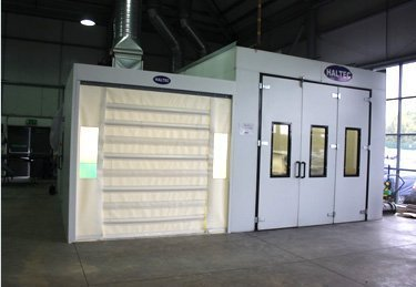 A spray booth in use