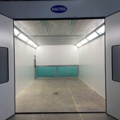 The interior of a spray booth
