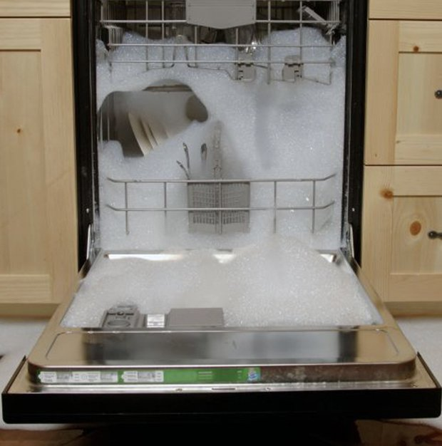 Dishwasher over flowing with soap bubbles