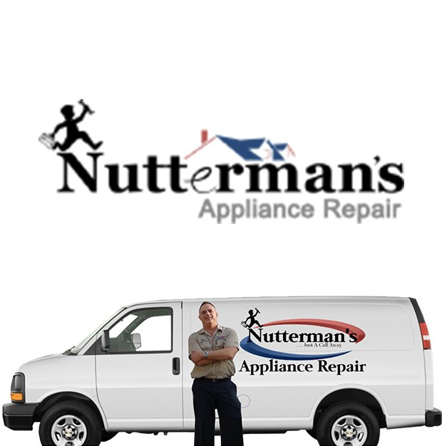 Nuttermans Appliance Repair Owner and Van. Logo above black and grey text