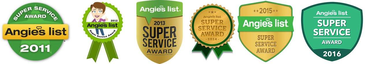 Nuttermans Angies List, Award Winner, 2011, 2012, 2013, 2014, 2015, Super Service Award