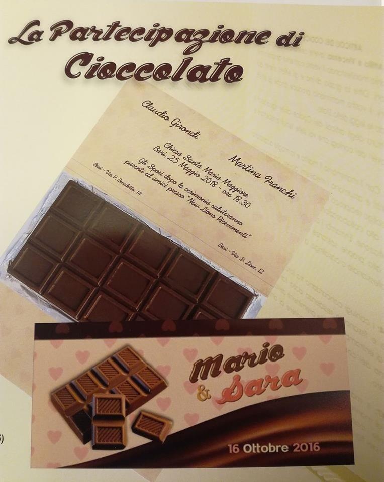 Partecipazioni nozze cioccolato