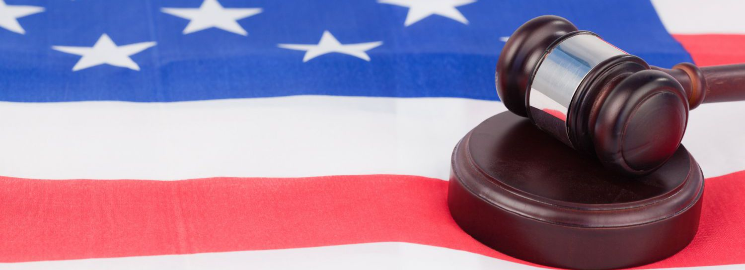 Gavel and american flag as symbol for an attorney in Withamsville, OH