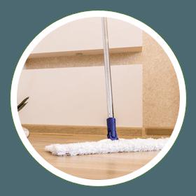 Floor being cleaned