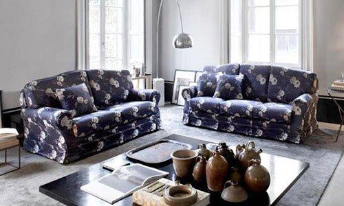 Una sala con due divani a tre posti ricoperti in stoffa di color blu scuro con fiori, Una lampada da terra di acciaio, un tavolino di legno con dei vasi e libri