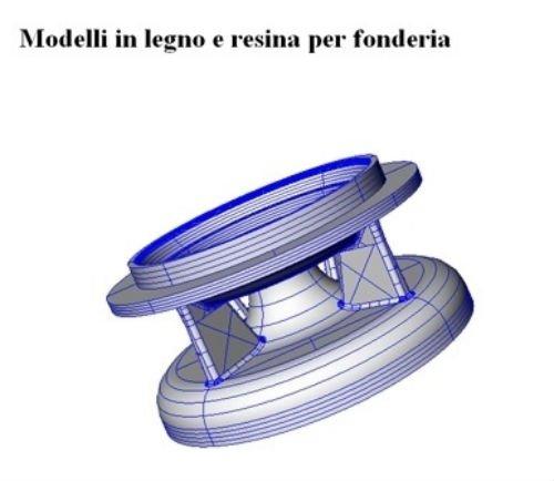 un disegno in 3d con scritto modelli in legno e resina per fonderia