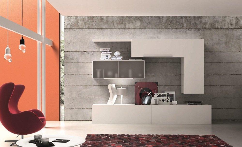 parete attrezzata bianca