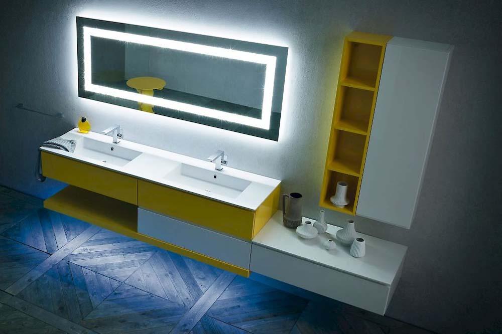 bagno illuminato con led