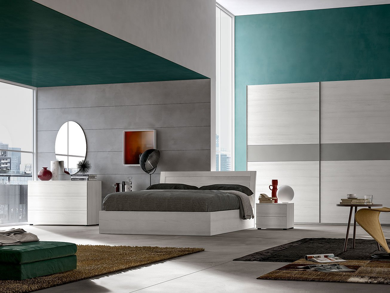 Camera da letto in bianco