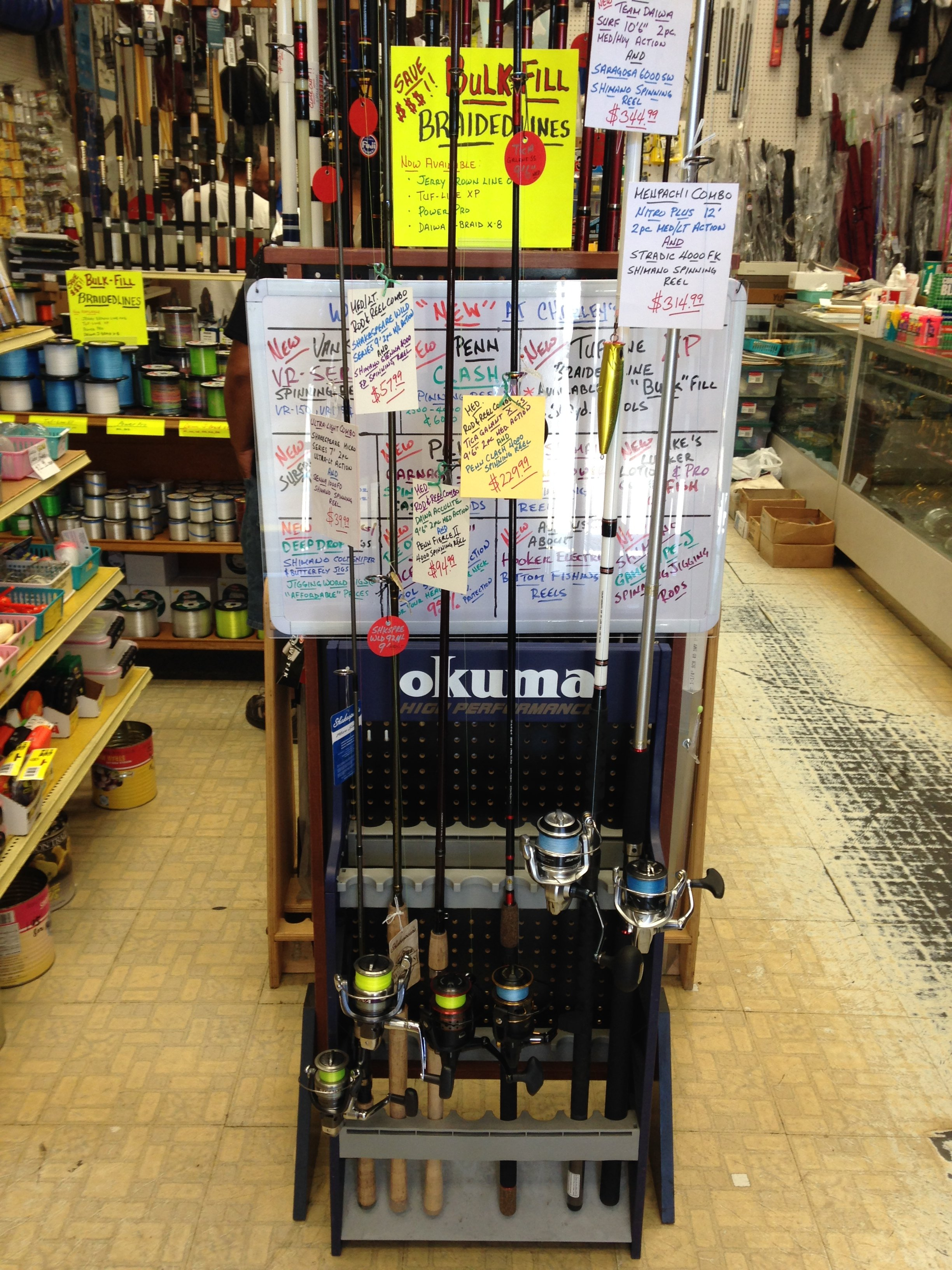 Rods and reel spinning combos at special summer prices! Call us for more info.